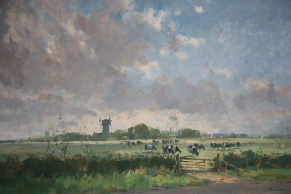 Broadland lanscape with mill, cattle and sails by Stanley Orchart