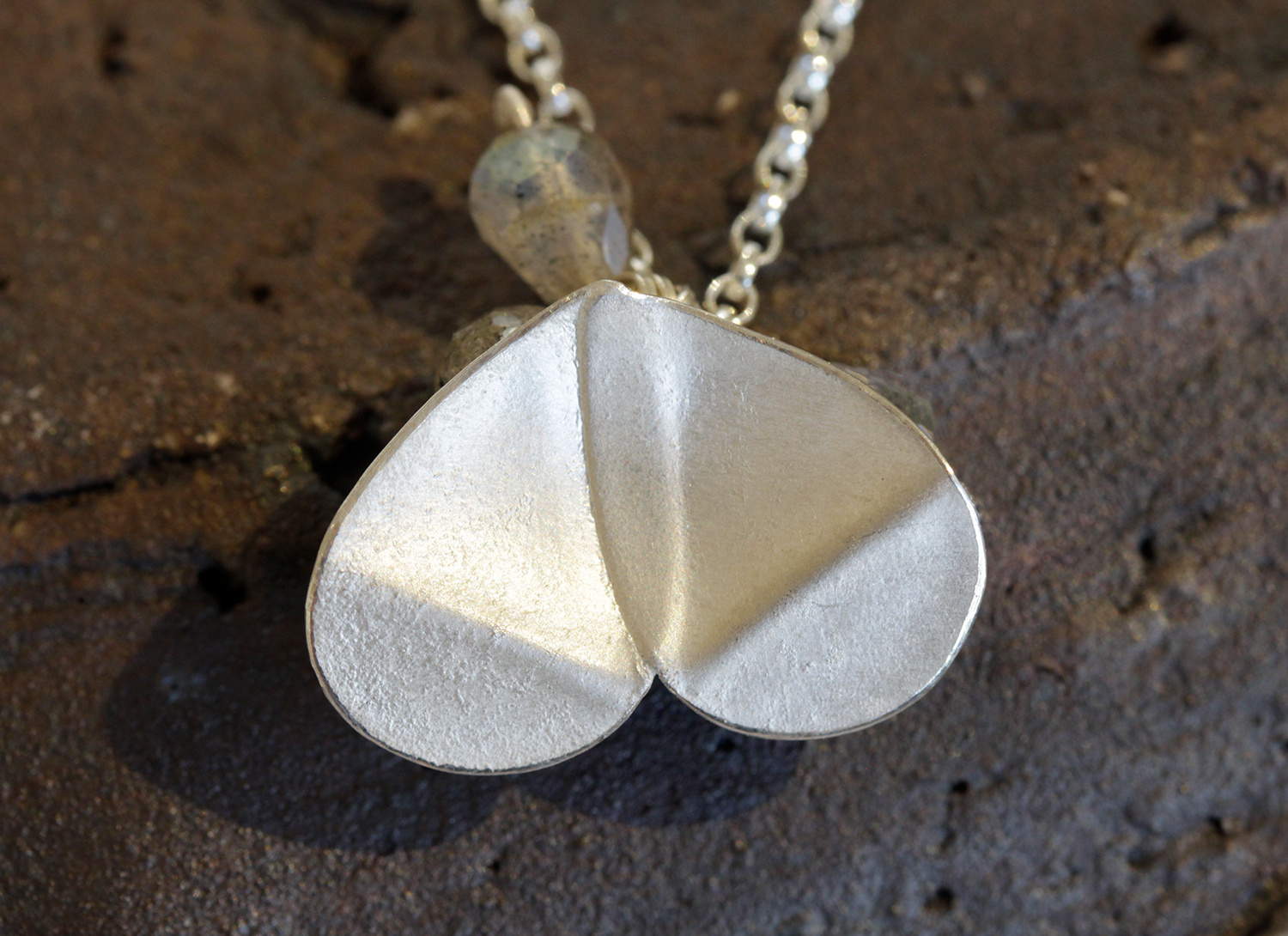 Folded Eucalyptus Cluster Necklace by Donna Barry