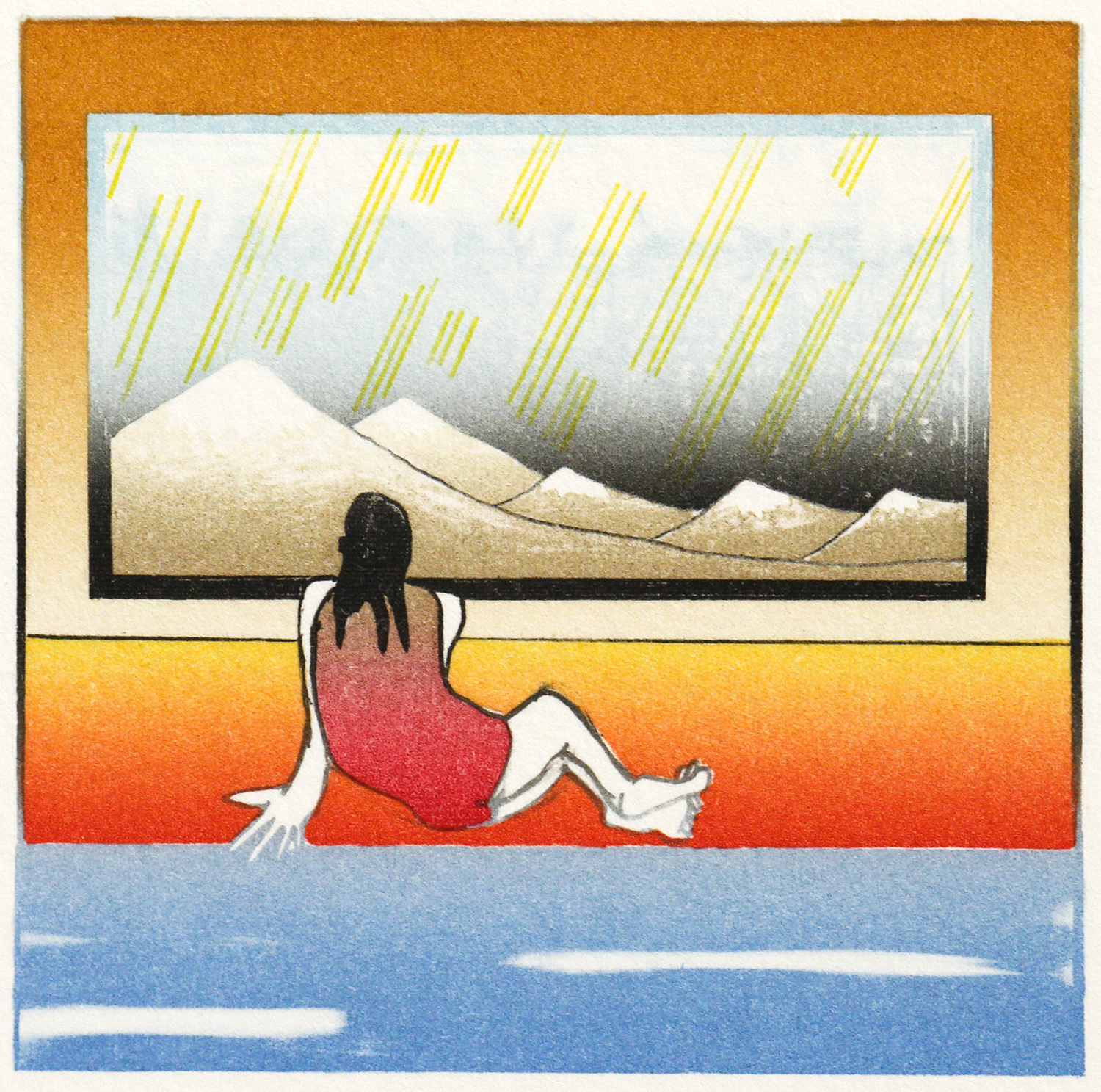 Girl by a Pool (After Hokusai) by Dale Devereux Barker