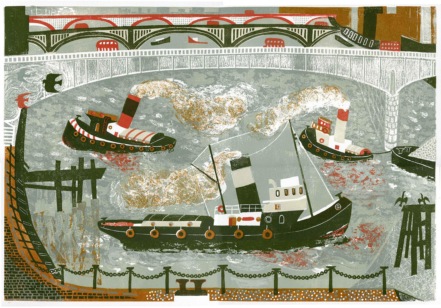 Tugboats on the Thames by Melvyn Evans