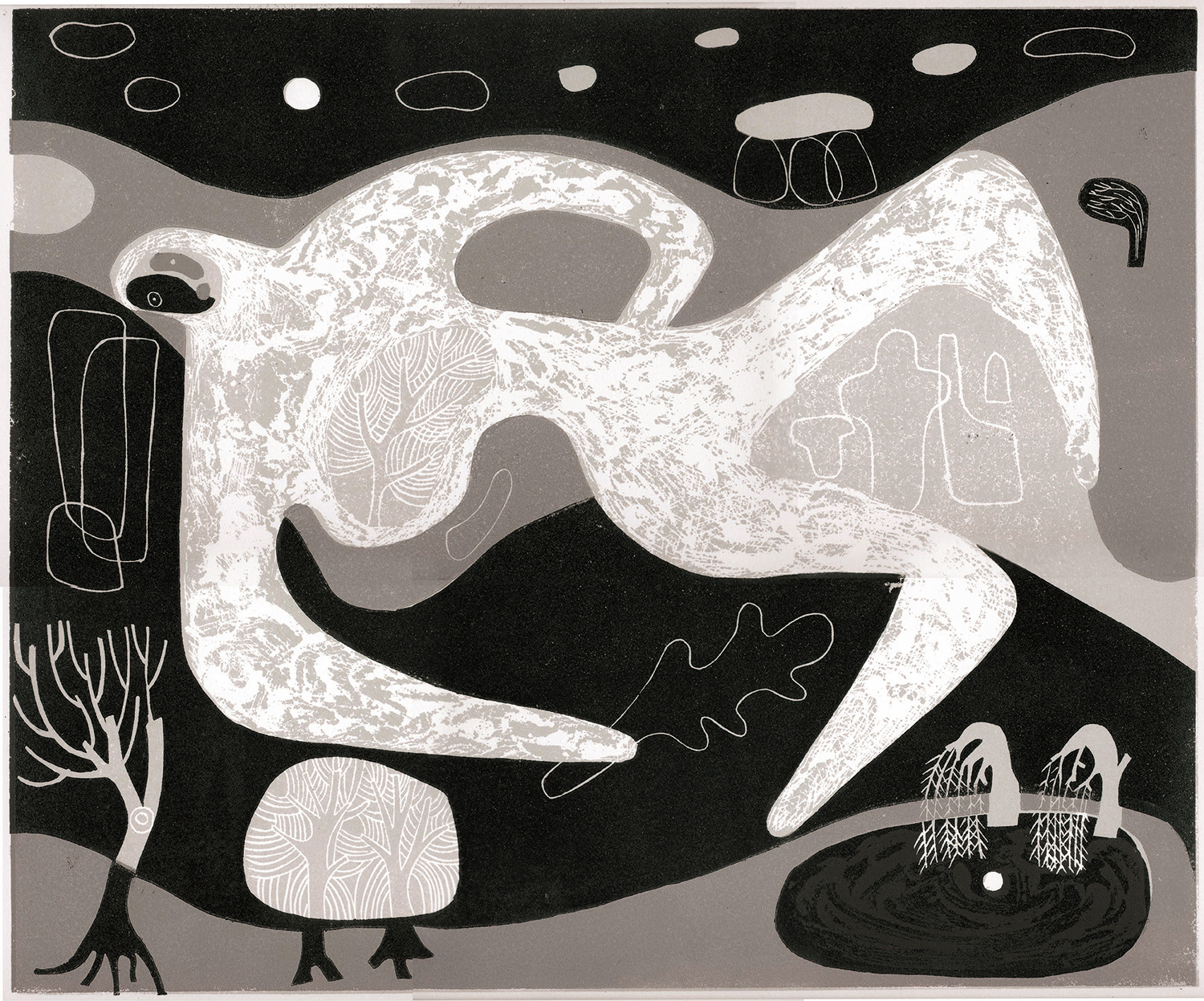 Landscape with Figure & Sacred Well by Melvyn Evans
