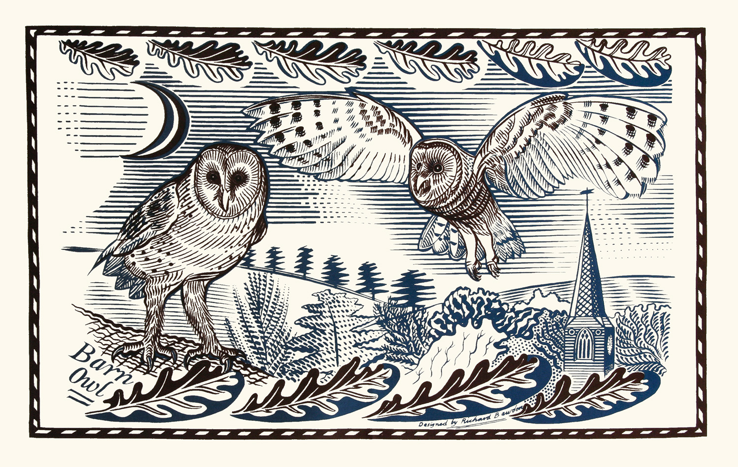 Tea Towel Owls by Richard Bawden