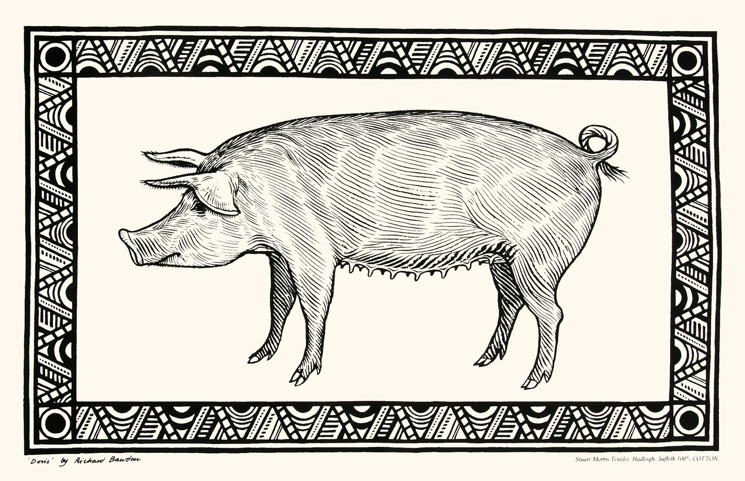 Tea Towel Pig by Richard Bawden