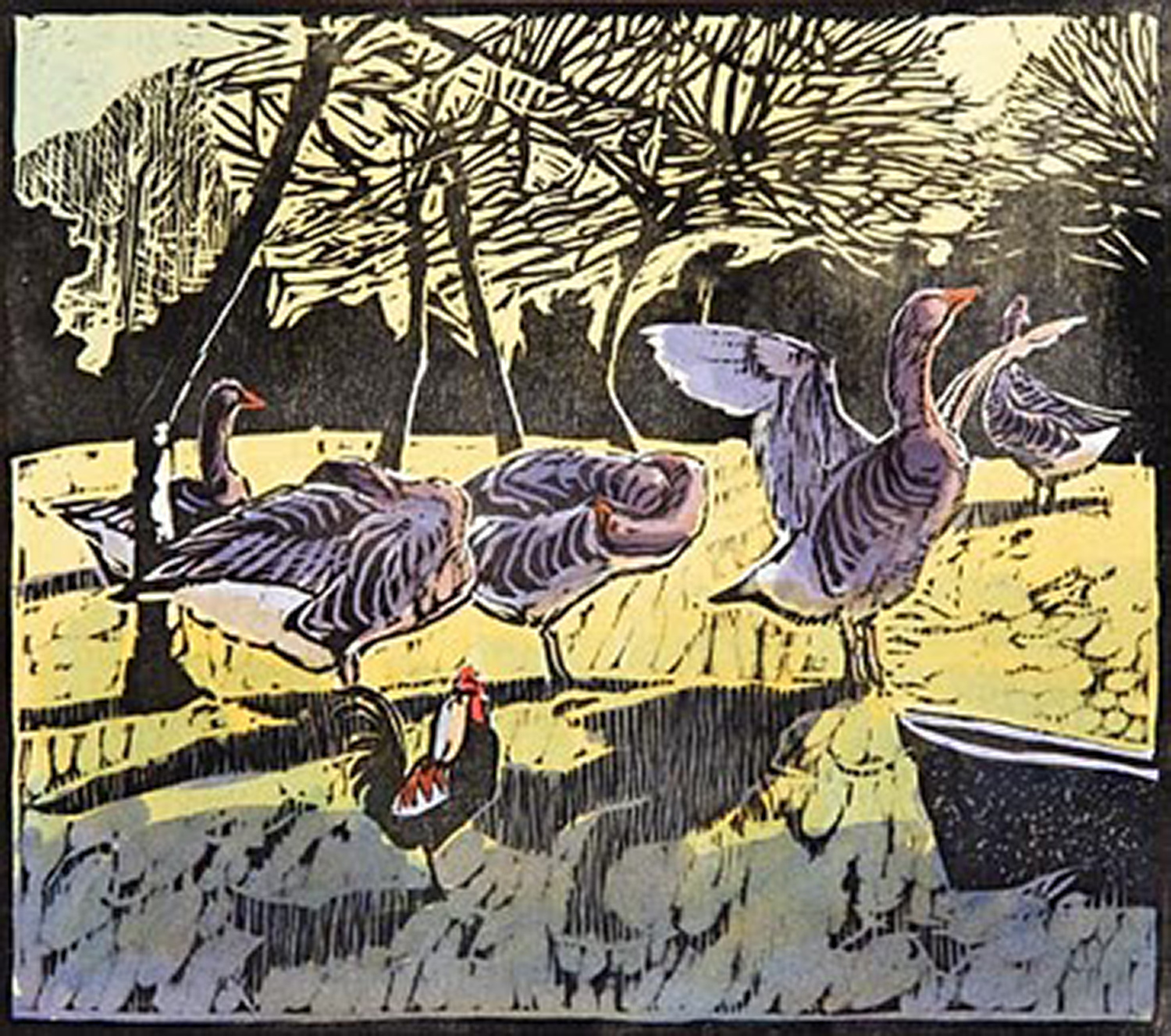 Geese & Bantam Cock by Robert Greenhalf