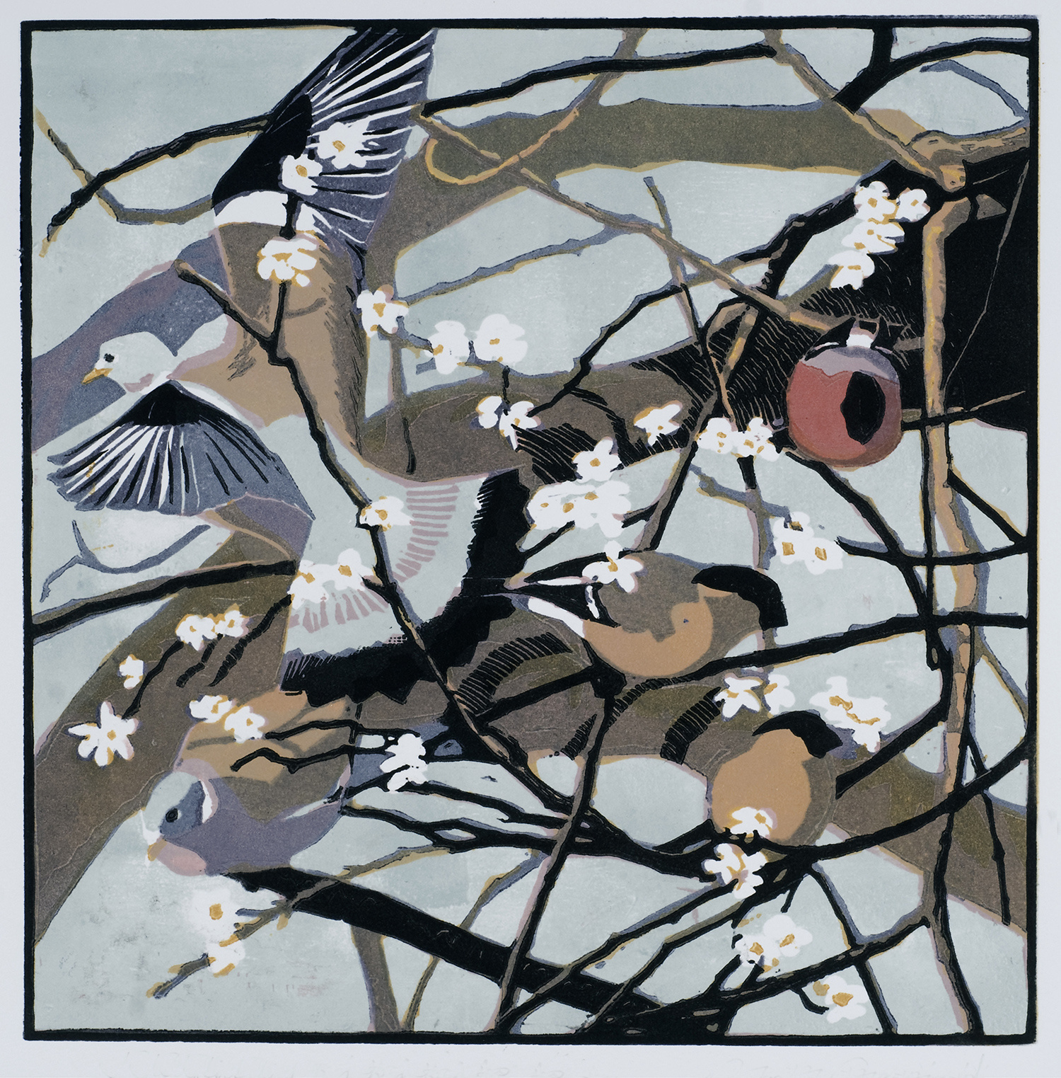 Bullfinches & Woodpigeons by Robert Greenhalf