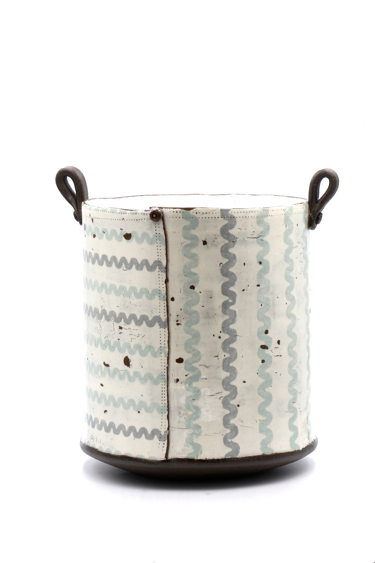 Pale Blue and Grey Ricrac Tall Tub Pot by Sam Walker