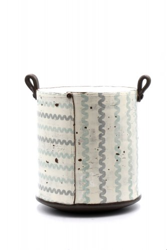 Pale Blue and Grey Ricrac Tall Tub Pot