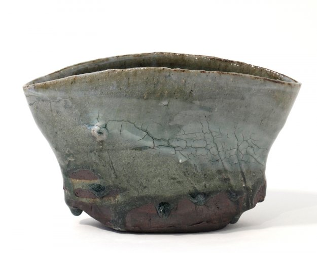 Celadon oval tall bowl