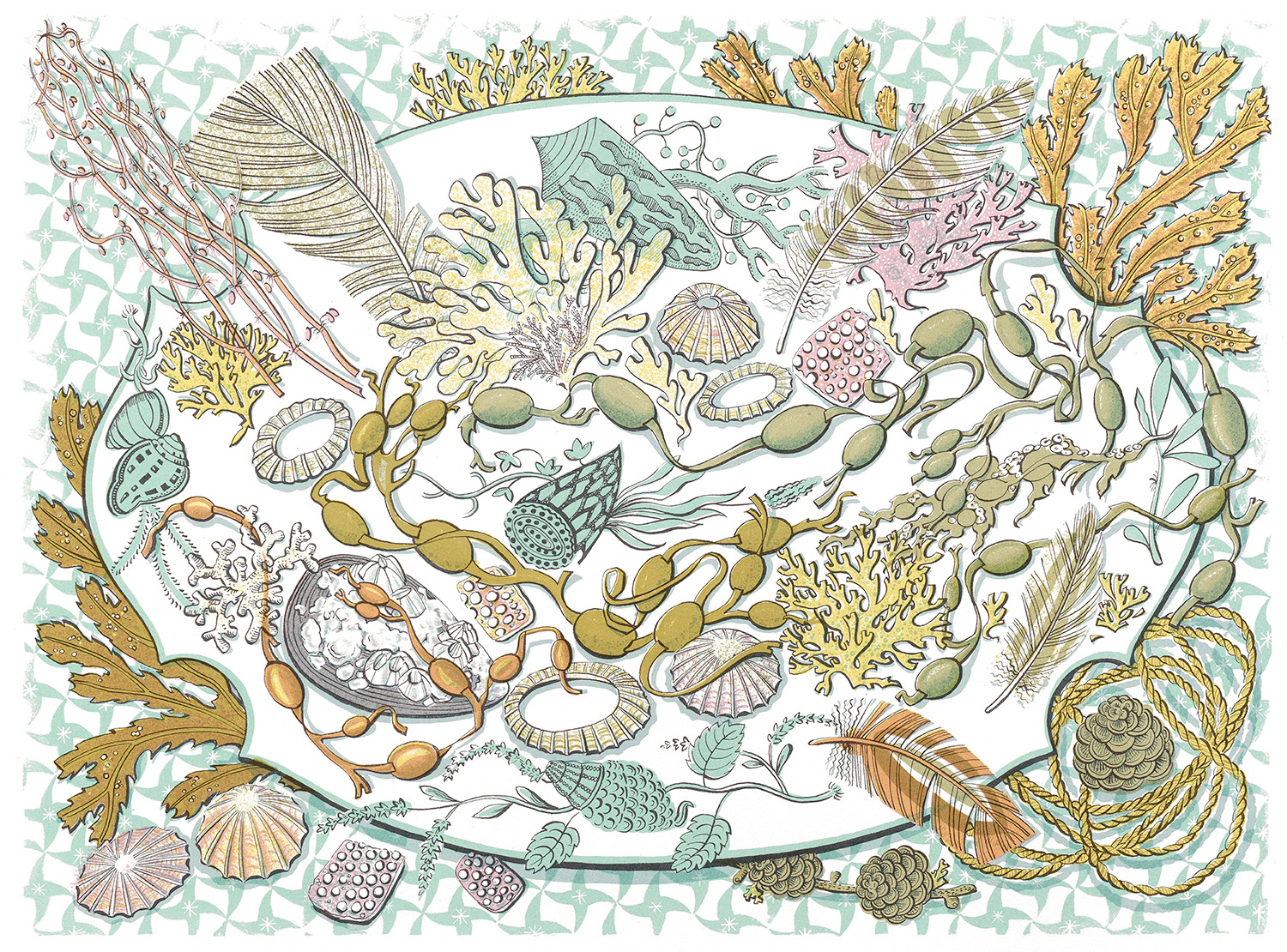 Shell, Seaweed & Feather by Angie Lewin